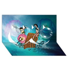 Music, Pan Flute With Fairy Twin Hearts 3D Greeting Card (8x4)