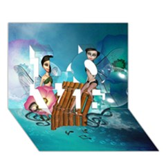 Music, Pan Flute With Fairy LOVE 3D Greeting Card (7x5)