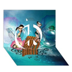 Music, Pan Flute With Fairy Peace Sign 3D Greeting Card (7x5)