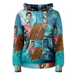 Music, Pan Flute With Fairy Women s Pullover Hoodies