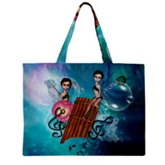 Music, Pan Flute With Fairy Zipper Tiny Tote Bags