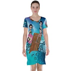 Music, Pan Flute With Fairy Short Sleeve Nightdresses