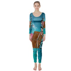 Music, Pan Flute With Fairy Long Sleeve Catsuit