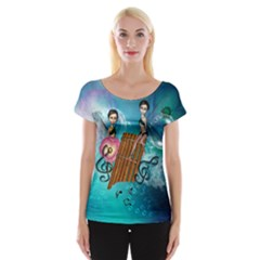 Music, Pan Flute With Fairy Women s Cap Sleeve Top