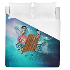 Music, Pan Flute With Fairy Duvet Cover Single Side (full/queen Size)