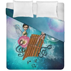 Music, Pan Flute With Fairy Duvet Cover (double Size)