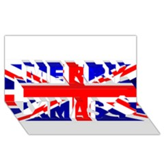 Brit1 Merry Xmas 3d Greeting Card (8x4)