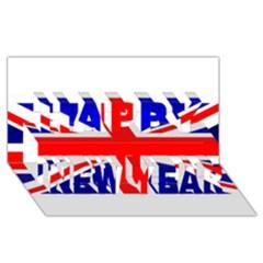 Brit1 Happy New Year 3d Greeting Card (8x4)