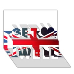 Brit2 Get Well 3d Greeting Card (7x5)