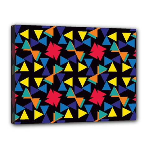 Colorful triangles and flowers pattern Canvas 16  x 12  (Stretched)