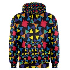 Colorful triangles and flowers pattern Men s Pullover Hoodie
