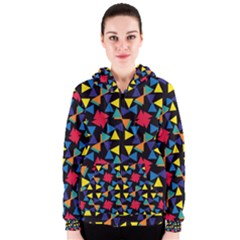Colorful triangles and flowers pattern Women s Zipper Hoodie
