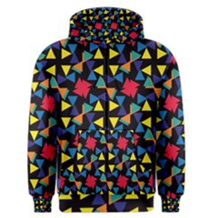 Colorful Triangles And Flowers Pattern Men s Zipper Hoodie
