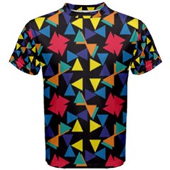 Colorful Triangles And Flowers Pattern Men s Cotton Tee