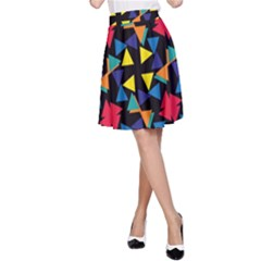 Colorful Triangles And Flowers Pattern A Line Skirt