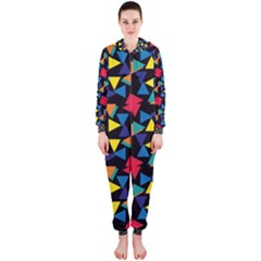 Colorful triangles and flowers pattern Hooded OnePiece Jumpsuit