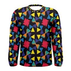 Colorful Triangles And Flowers Pattern Men Long Sleeve T Shirt