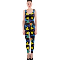 Colorful triangles and flowers pattern OnePiece Catsuit