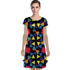 Colorful triangles and flowers pattern Cap Sleeve Nightdress