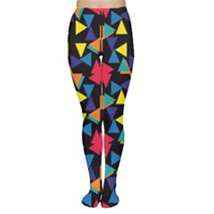 Colorful triangles and flowers pattern Tights