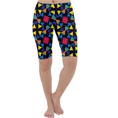 Colorful triangles and flowers pattern Cropped Leggings