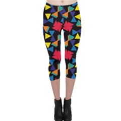 Colorful triangles and flowers pattern Capri Leggings