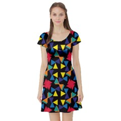 Colorful triangles and flowers pattern Short Sleeve Skater Dress