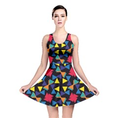 Colorful Triangles And Flowers Pattern Reversible Skater Dress
