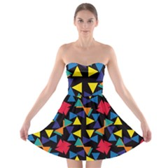 Colorful triangles and flowers pattern Strapless Bra Top Dress