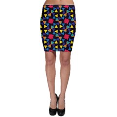 Colorful Triangles And Flowers Pattern Bodycon Skirt
