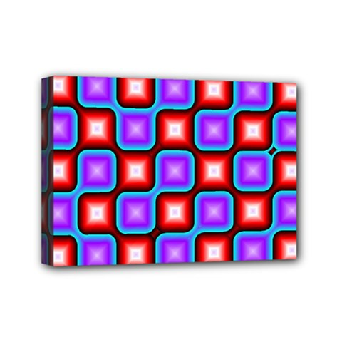 Connected squares pattern Mini Canvas 7  x 5  (Stretched)
