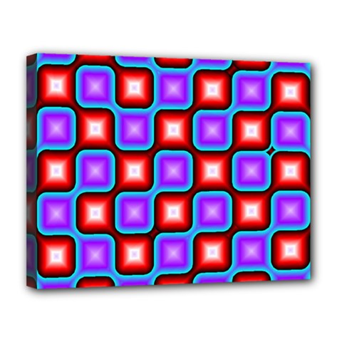Connected squares pattern Canvas 14  x 11  (Stretched)