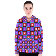 Connected squares pattern Women s Zipper Hoodie
