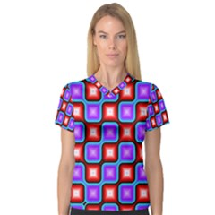 Connected squares pattern Women s V-Neck Sport Mesh Tee