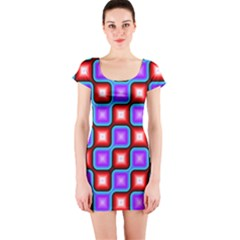 Connected squares pattern Short sleeve Bodycon dress