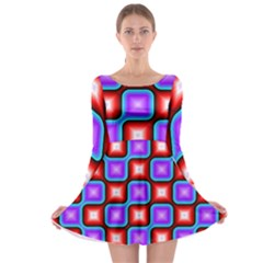 Connected squares pattern Long Sleeve Skater Dress