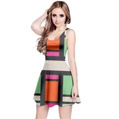 Rectangles cross Sleeveless Dress