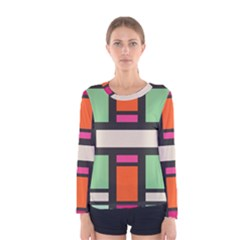 Rectangles cross Women Long Sleeve T-shirt