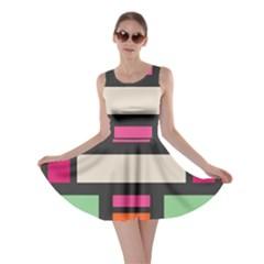 Rectangles cross Skater Dress