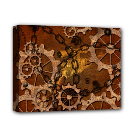 Steampunk In Rusty Metal Deluxe Canvas 14  x 11