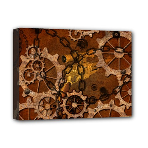 Steampunk In Rusty Metal Deluxe Canvas 16  x 12