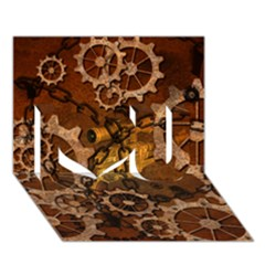Steampunk In Rusty Metal I Love You 3D Greeting Card (7x5)
