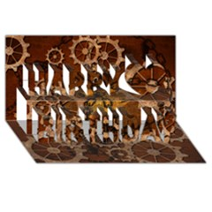 Steampunk In Rusty Metal Happy Birthday 3d Greeting Card (8x4)