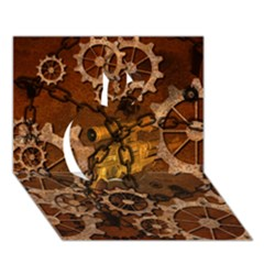 Steampunk In Rusty Metal Apple 3D Greeting Card (7x5)
