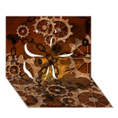 Steampunk In Rusty Metal Clover 3D Greeting Card (7x5)