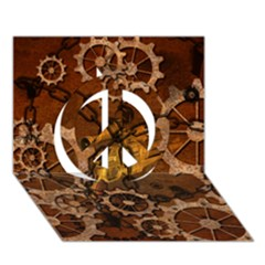 Steampunk In Rusty Metal Peace Sign 3d Greeting Card (7x5)