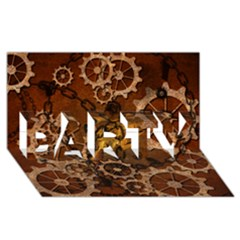Steampunk In Rusty Metal PARTY 3D Greeting Card (8x4)