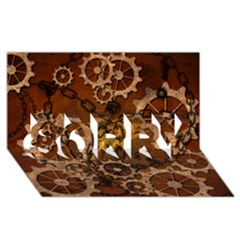 Steampunk In Rusty Metal Sorry 3d Greeting Card (8x4)