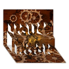 Steampunk In Rusty Metal You Rock 3d Greeting Card (7x5)