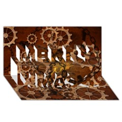 Steampunk In Rusty Metal Merry Xmas 3D Greeting Card (8x4)